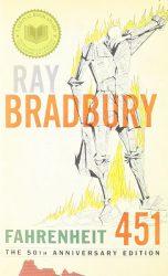 Fahrenheit 451, by Ray Bradbury book cover